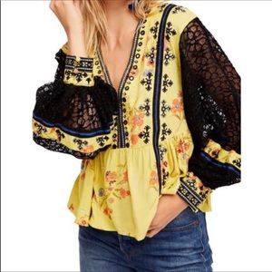 Free People black lace sleeve blouse